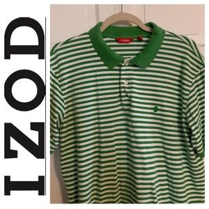 Izod Green & White Striped Polo Shirt. Size Large